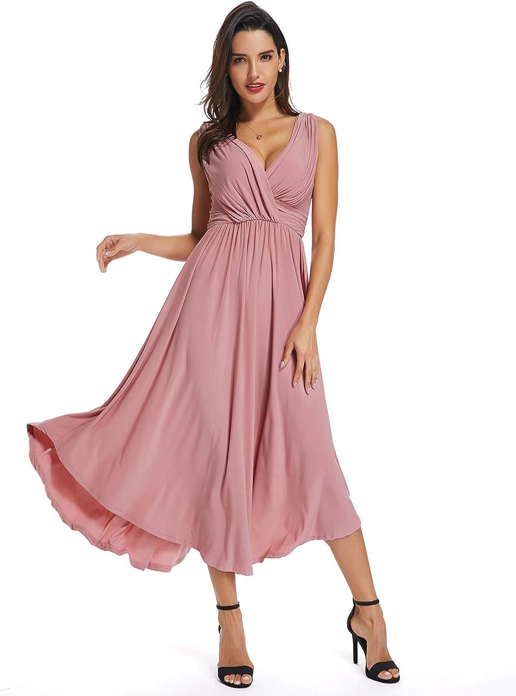 Sweetbei J Womens Sleeveless V Neck Wrap Flowy Cocktail Party Long Dress