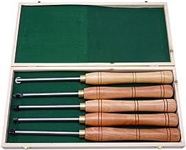 Alqn Juego de herramientas de torneado, herramienta de separación de acero de aleación dura con caja de madera, herramienta de acabado de torno de torneado de madera de agarre cómodo para aficionado