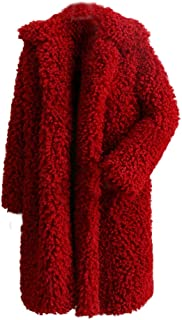 Women's Warm Fuzzy Fleece Lapel Long Cardigan Coat Faux Fur Outwear