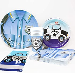 Blue Orchards Police Deluxe Party Packs (70 Pieces for 16 Guests!), Police Party Supplies, Police Car Birthday