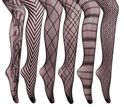 HeyUU 6 Stück Damen Klassische und Reizvolle Netzstrümpfe mit transparentem Muster Fischernetz Strumpfhosen (6x Paar)