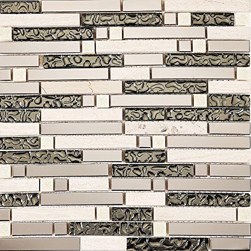 1qm 30x 30cm in acciaio inox, vetro e pietra naturale effetto mosaico piastrelle Matte in mattoni di pietra (mt0146Sample)