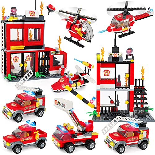 City Fire Station Building Kit, Fun Firefighter Toy Building Set for Kids, Cool Toy Fire Truck, Rescue Helicopter, Best Learning Roleplay Construction STEM Toy for Boys & Girls Age 6-12 (899 Pieces)