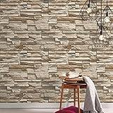 RoomMates RMK9025WP - Papel pintado, diseño de piedra apilada, 20.5' x 16.5', Gris/Marrón