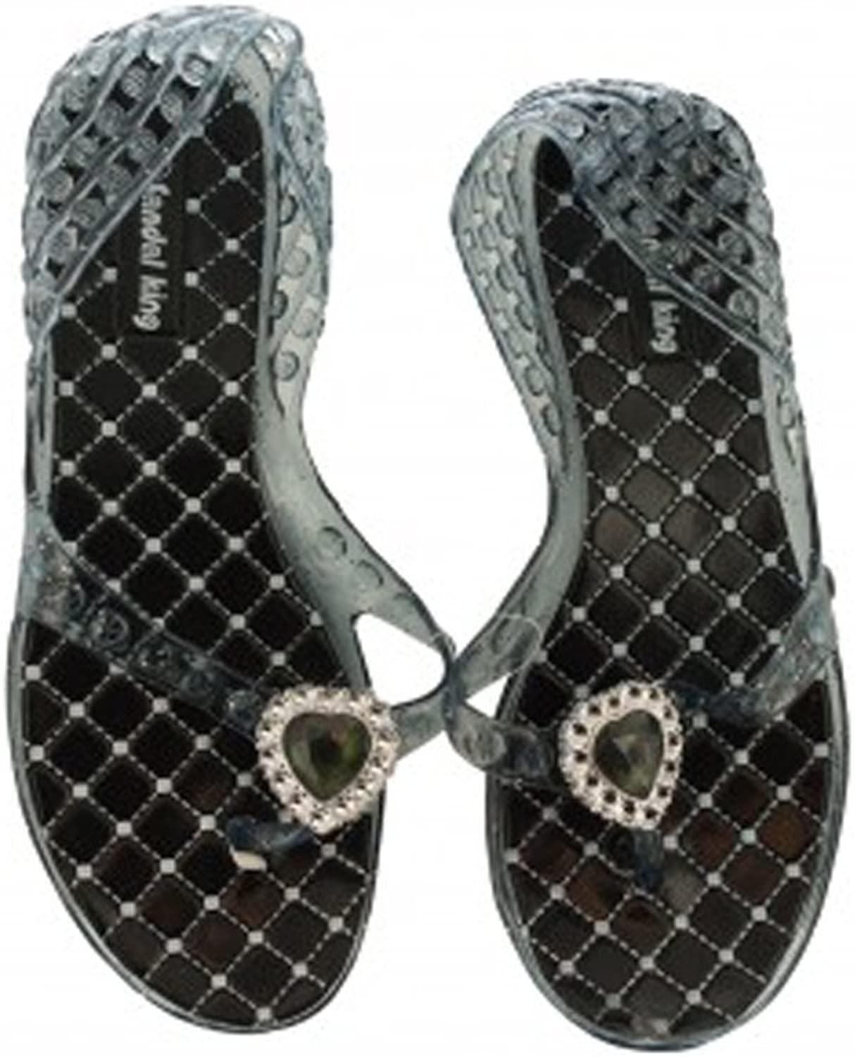Kole Imports Ladies Glitter Jelly Sandals with Jeweled Hearts -48 Case