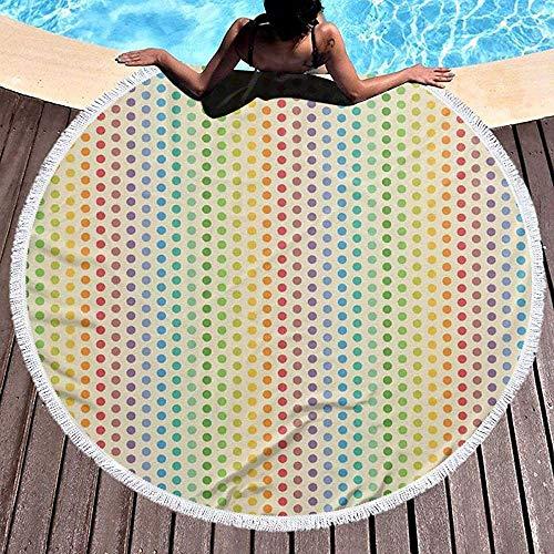 Beach Towel Beach Blanket, Composición de círculos o Puntos como Espectro de Color del Arco Iris en un patrón de Orden Vertical, Towel Beach Mat 59 '