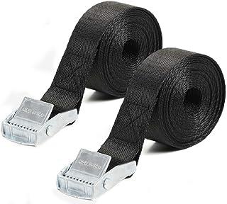 Dellepico 荷締めベルト 荷締バンド 多用途 固定ベルト 結束 梱包 ベルト 固定バンド 地震対策グッズ 幅25mm 長さ2m 2本セット (シルバー)