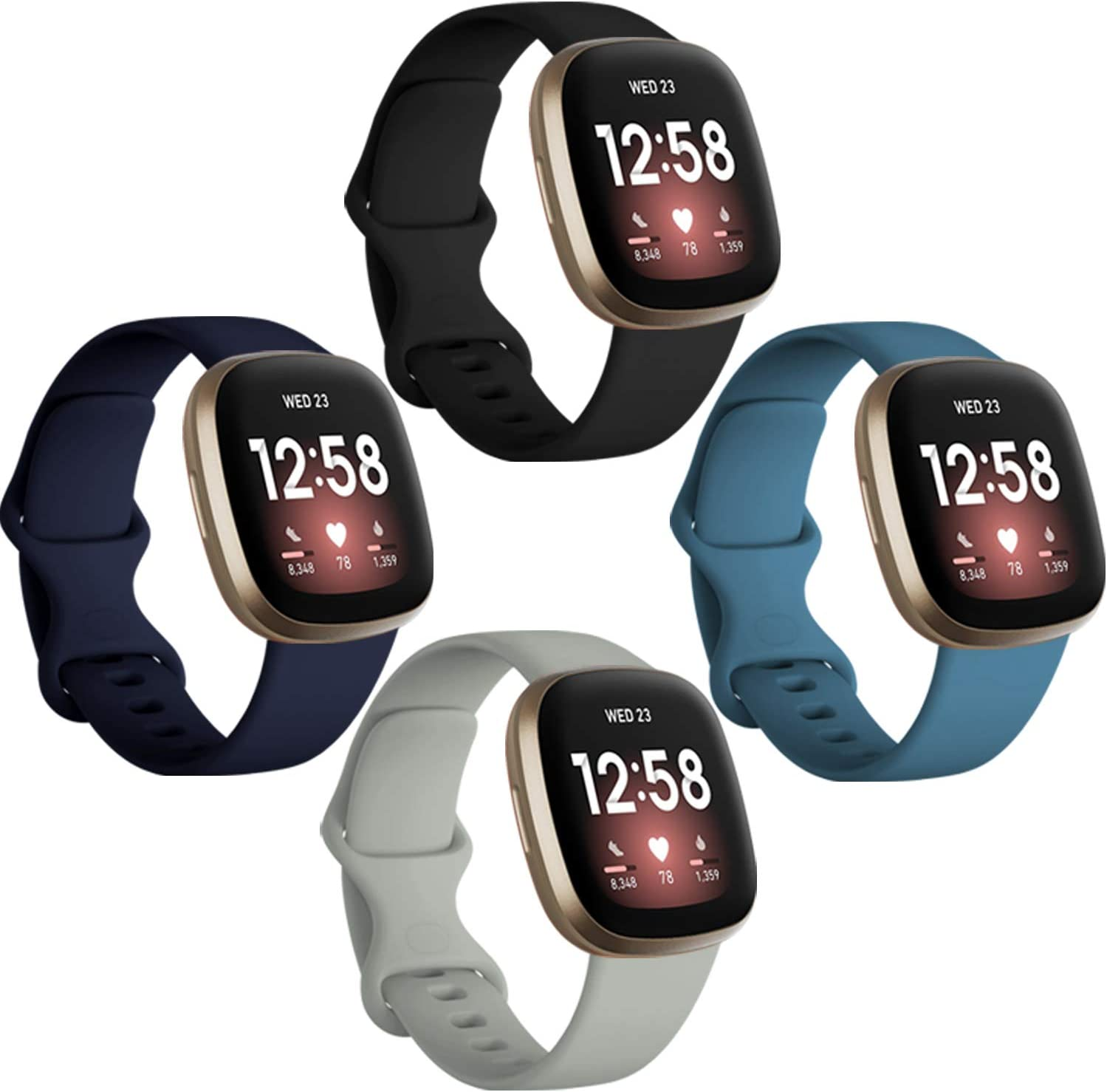 Dirrelo Bands Compatible for Fitbit Versa 3 & Sense, (4-Pack) Replacement TPU Sport Wristbands Accessories Strap for Versa 3 Sense Band Women Men, Small ( Black Dark blue Indigo Gray )