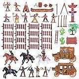 TOYANDONA 1 Satz Indianer Figuren Spielzeug Western Cowboy mit Pferd Modell Spielfiguren Kunststoff Sammelfiguren Halloween Kindergeburtstag Mitgebsel für...