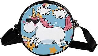 Coosun Umhängetasche mit Einhorn-Motiv, rund, Schultertasche für Kinder und Damen