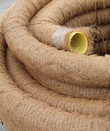Doubleyou Geovlies & Baustoffe Drainagerohr DN 80 gelocht mit Kokosfilter, Kokos ummantelt, Drainage (30m)
