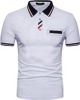 Cottory Mens Trendy 3 Color Buttons Polo Fake Pocket Design Golf Shirt
