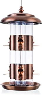 BOLITE 18008 Bird Feeder Triple Tube Wild Bird Feeders, Weather Proof Panorama Bird Feeders for Outside, 4.6 lbs, Copper