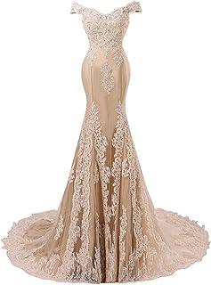8e15150a326 JAEDEN Sirène Robe de soirée pour Mariage Longue Dentelle Satin Robe de  mariée Robe de Bal