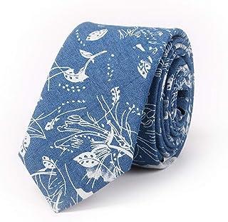 DIEBELLAU Men's Tie Cotton Print Fashion Casual Denim Printed Cotton Tie (Color : Dark Blue)