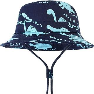 LAPOPNUT Chapeau de Enfant Chapeau de Soleil Anti-UV en Coton Bébé Enfant Garçon Bob de Plage Réglable à Corde pour Printe...