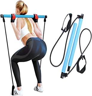 Selkie Pilates Bar Kit with Resistance Band Portable Home Gym Workout Package, Yoga Pilates Stick Exercise Bar with Foot L...