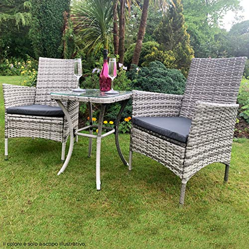 Jardí Garden Outdoor Rattan Furniture Bistro Set 3 PCs Patio Weave Companion Chair Table Set Conservatory (Grey) FREE…