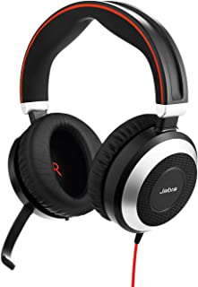 Jabra Evolve 80 MS Wired Stereo Over-Ear Headset – Unified Communications Optimised Headphones With Active Noise Cancellation – USB-C Cable and 3,5 mm Jack Connections – Black
