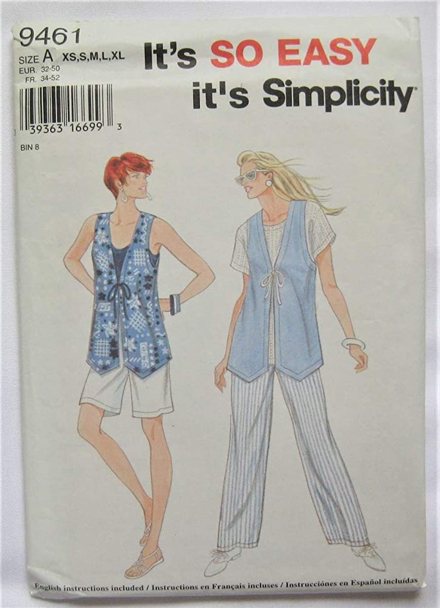 Simplicity Pattern 9461 Misses' Pants or Shorts and Lined Vest, Size A (XS-S-M-L-XL)
