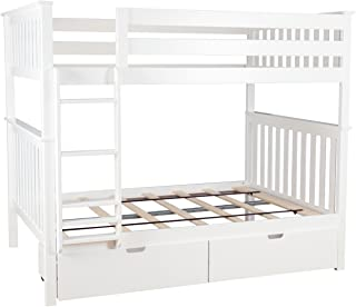 Max & Lily 187251-005 Solid Wood Full Bunk Bed Storage Drawers, White, Full/Full