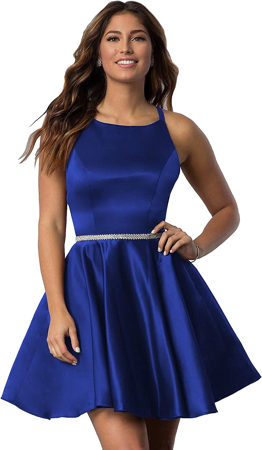 YORFORMALS Women's Scoop Neck Satin Open-Back Homecoming Dress Short Evening Party Gown with Pockets