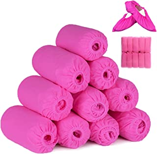 GAILANG Disposable Shoe & Boot Covers Non Slip 100 Pack(50 Pairs)400g Thicken,Non Woven Fabric Safety Boot, Waterproof Durable Boot&Shoes Cover,One size fits all footwears. (Pink)