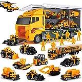 Camion Giocattolo con Minifigure 19 in 1, Mini Modellini in Metallo con Autocarro Trasportatore a Molla, Veicolo Ribaltabile da Trasporto per Bambini Maschi e Femmine, Ideale per Compleanno e Natale