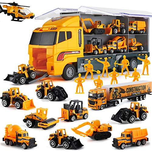 19 in 1 Construction Truck with Engineering Worker Toy Set, Mini Die-Cast Engine Car in Carrier Truck, Double Side Transport Vehicle Play for Child Kid Boy Girl Birthday Christmas Party Favors