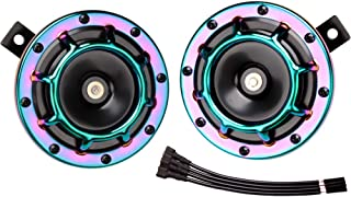 FARBIN Eletric Car Horn Super Tone 12V High Tone/Low Tone Metal Twin Horn Kit with Protective Grill (Colour)
