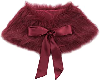 Girls Princess Faux Fur Flower Bolero Shoulder Cape Bridesmaid Party Shawl Stole Shrug