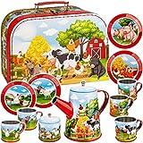 alles-meine.de GmbH 14 TLG. Set _ Picknick Koffer - Puppengeschirr / Teeservice & Kaffeeservice - Bauernhof Tiere - Geschirr aus Blech - Metall - Blechgeschirr - Kinderküche - Pi..