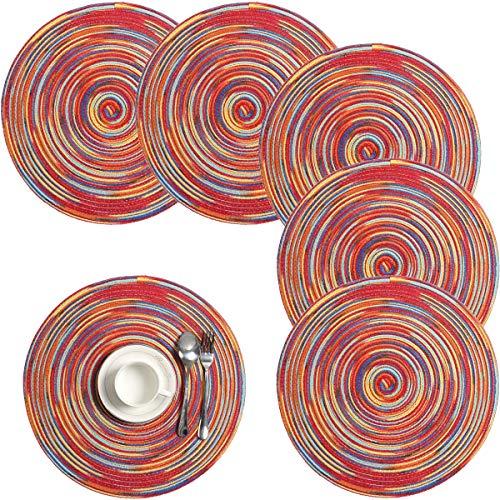 Pauwer Lot de 6 Sets de Table tissés de 6 Sets de Table Ronds lavables antidérapants et résistants à la Chale (Rouge)