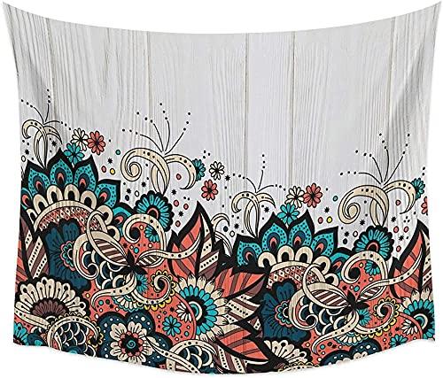 Tapiz para colgar en la pared, diseño de mandala, flor de grano de madera, decoración india, bohemia, hippie, tela de pared bohemia, 150 x 200 cm
