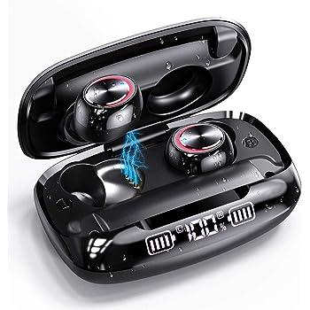 Wireless Earbuds, GUSGU Bluetooth 5.0 in Ear Headphones with Wireless Charging Case Digital Intelligence LED Display IPX7 Waterproof Earphones Built-in Mic Headset with Deep Bass for Sports