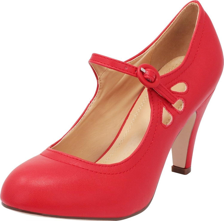 Cambridge Select Women's Round Toe Mid Heel Mary Jane Dress Pump