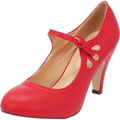 34657d6fa0a Cambridge Select Women s Round Toe Mid Heel Mary Jane Dress Pump
