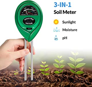 K KERNOWO Soil Test Kit, 3-in-1 Soil pH Meter with Moisture, Light and PH Tester for Garden, Farm, Lawn, Indoor & Outdoor (No Battery Needed)