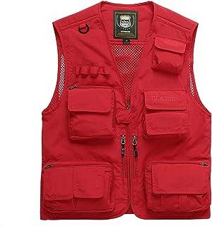 Men's vest Fashion Coat Breathable vest Comfort Jacket Multi-Pocket vest (Color : Red, Size : L)