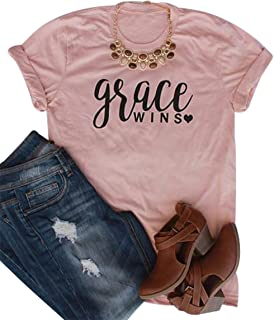 Grace Wins Letters Print Women's Funny T Shirt Casual O-Neck Loose Tee Tops Blouses