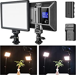 SUPON LED-L122T Super Slim Ultra Bright LCD Display Lighting Panel,3300K-5600K Bi-Color LED Video Light Compatible for Canon, Nikon, Pentax, Panasonic, Sony, Samsung, Olympus+NP-F550 Battery +Charger