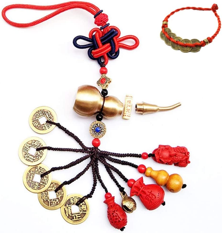 KXT Feng Shui Coins with Brass Calabash for Wealth and Safe, Pendant Coins for Success, Ward Off Evil, Protect Peace - Also Can Used As Wind Chimes, Car Interiors,Bag Ornaments