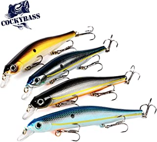 COCKYBASS Fishing Lures Crankbait Bass Fishing Swimbaits Jerkbait Squarebill Lures for Bass,Shallow Diving Crankbait Hardbait Minnow Pike Lures Fishing Tackle Kits(Pack of 4)