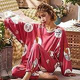 Damen Zweiteil Schlafanzüge,Rotes Baumwoll Elegantes Nachthemd Weiche Hose Giraffe Tierdruck Winter Frau Weihnachten Stricken Pjs Set Geschenk Für Sexy Ladies Nachtwäsche, XXL