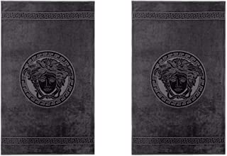 Versace Home Medusa Black Cotton Bath Towels Set of 2 (100x160cm) …