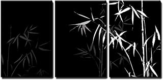wall26 - 3 Piece Canvas Wall Art - Vector - White Bamboo Branches Imprint on Black Background - Modern Home Decor Stretched and Framed Ready to Hang - 24