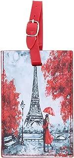 Paris Luggage Tag Suitcase ID Tag - Red Umbrella