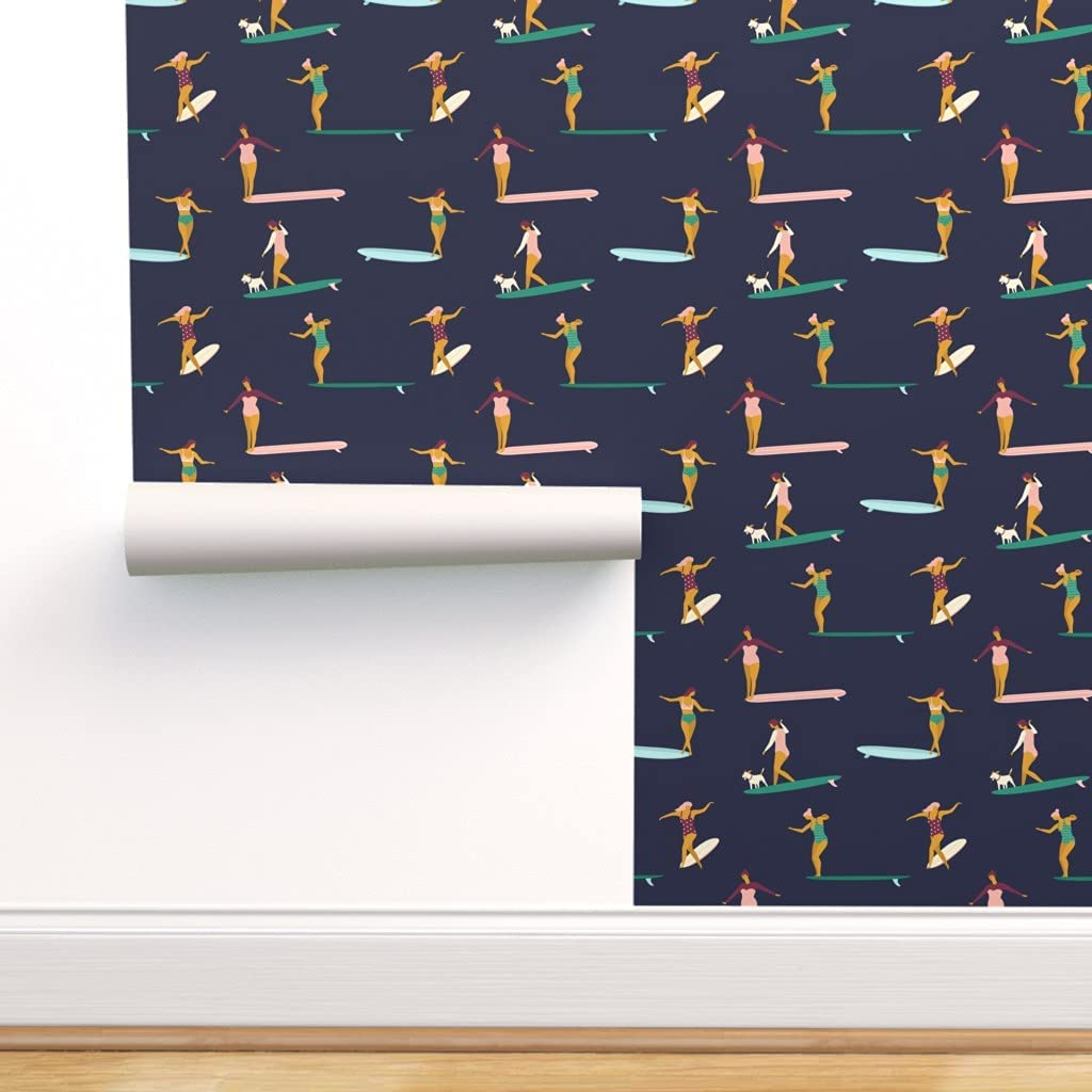 Spoonflower Peel and Stick Removable Max 71% OFF Surfing Wallpaper Direct sale of manufacturer Surfers