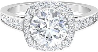 Anillo de compromiso solitario, anillo de moissanita D-VSSI, joyería de oro (8 mm, forma redonda, solitaria), oro blanco d...