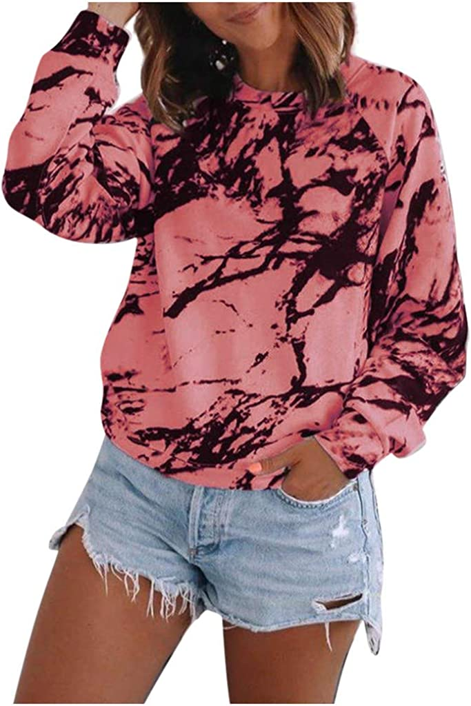 Womens Ranking 1 year warranty TOP17 Casual Tie Dye Print Long Pullover Lo Crewneck Sleeve Top
